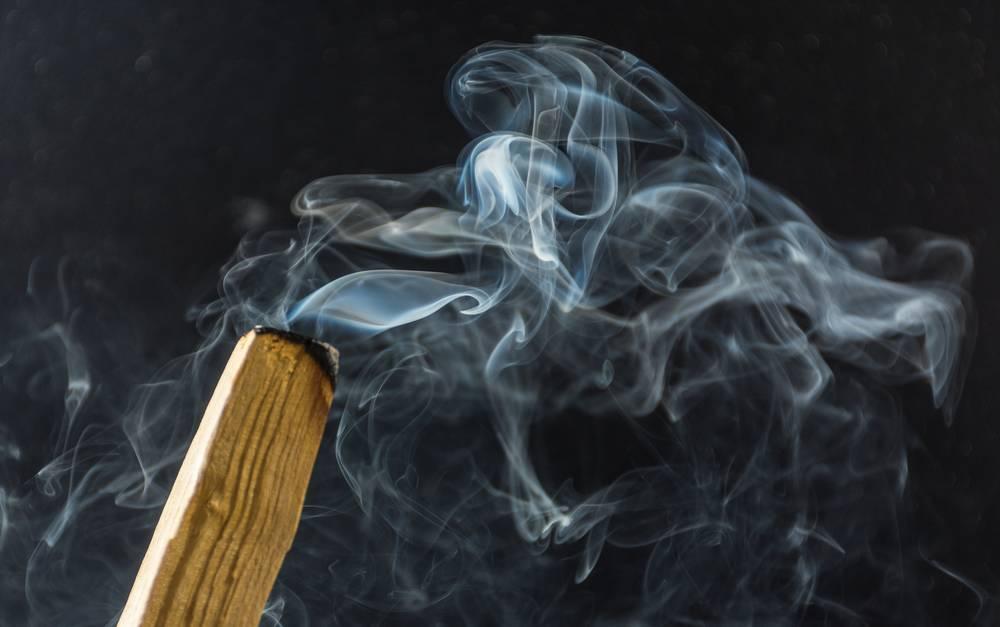 Photo d'une fumée de sauge blanche pour purifier une maison
